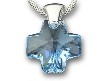 Swarovski Elements Přívěsek na krk - křížek 20mm / aquamarine