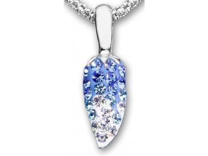 Swarovski Elements Přívěsek na krk s řetízkem - pepper part mix 14mm / crystal+aquamarine-sapphire