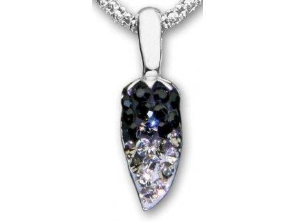 Swarovski Elements Přívěsek na krk s řetízkem - pepper part mix 14mm / jet+black diamond+crystal