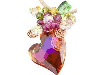 Swarovski Elements Přívěsek na krk srdce 27mm na bavlněné šňůrce / topaz+mix colors
