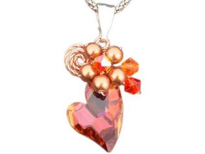 Swarovski elements přívěsek na krk s řetízkem - srdce 17mm / crystal copper