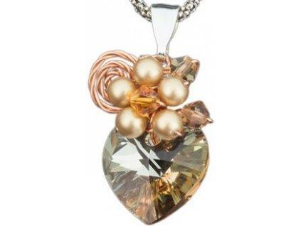Swarovski Elements Přívěsek na krk s řetízkem - srdce 14mm / crystal golden shadow