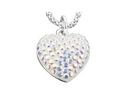 Swarovski Elements Přívěsek na krk - heart parts 15mm / crystal ab