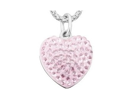 Swarovski Elements Přívěsek na krk - heart parts 15mm / light rose