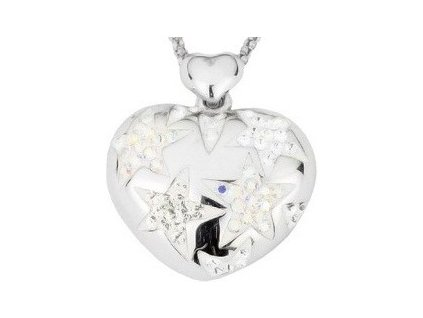 Swarovski Elements Přívěsek na krk - heart star 20mm / crystal+crystal ab