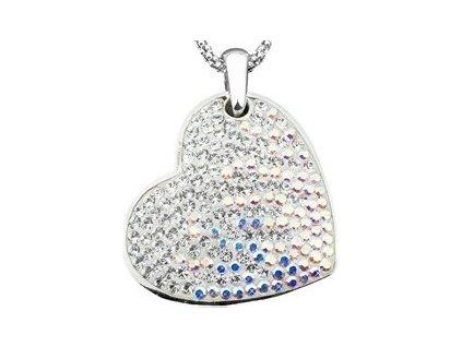 Swarovski Elements Přívěsek na krk - parts heart 25mm / crystal +crystal ab
