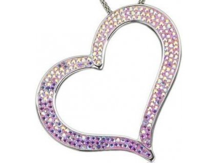 Swarovski Elements Přívěsek na krk heart-srdce parts 55mm / rose ab+light rose ab