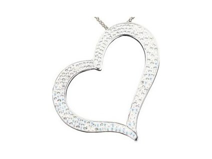 Swarovski Elements Přívěsek na krk heart-srdce parts 55mm / crystal+crystal ab