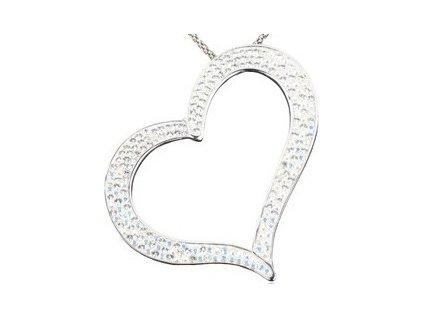 Swarovski Elements Přívěsek na krk heart-srdce parts 55mm / crystal+crystal ab