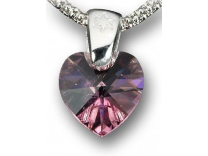 Swarovski Elements Přívěsek na krk - srdce 10mm / light rose