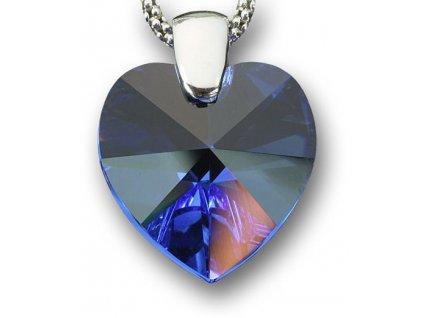 Swarovski Elements Přívěsek na krk - srdce 18mm / sapphire