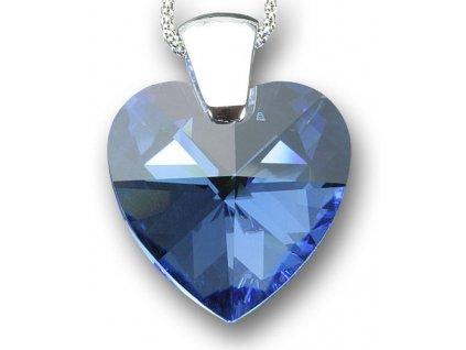 Swarovski Elements Přívěsek na krk - srdce 28mm / medium sapphire