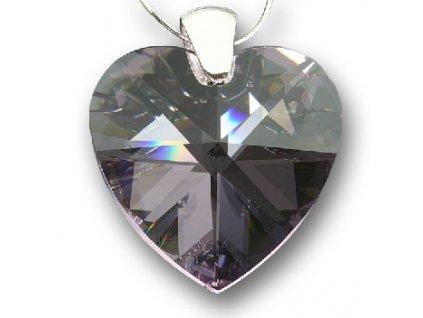 Swarovski Elements Přívěsek na krk - srdce 40mm / rosaline