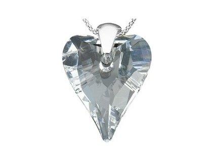 Swarovski Elements Přívěsek na krk - srdce 37mm / crystal