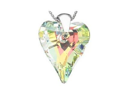 Swarovski Elements Přívěsek na krk - srdce 37mm / crystal ab