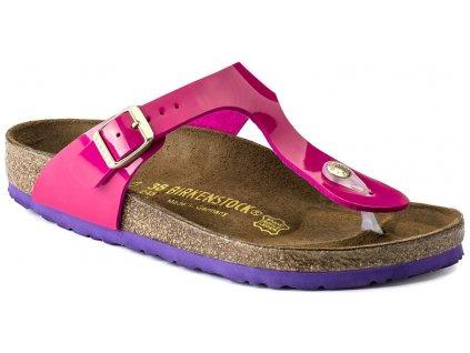 Birkenstock Gizeh - Pink lack + fialová podrážka