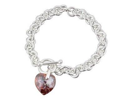 Swarovski Elements - Stříbrný náramek s přívěskem heart / red magma, 18mm