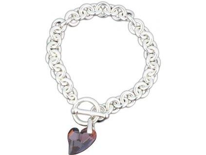 Swarovski Elements - Stříbrný náramek s přívěskem heart devoted 2u / red magma, 18mm