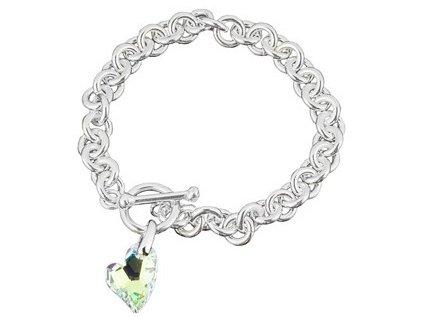 Swarovski Elements - Stříbrný náramek s přívěskem heart devoted 2u / crystal ab, 18mm