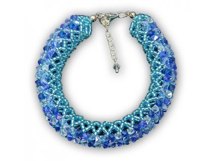 Swarovski Elements Náramek na ruku Malai big / aquamarine