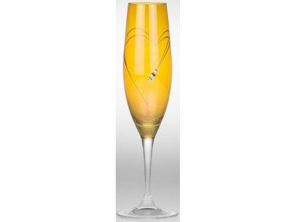 žluté sklenice na champagne - 2ks / Swarovski Elements