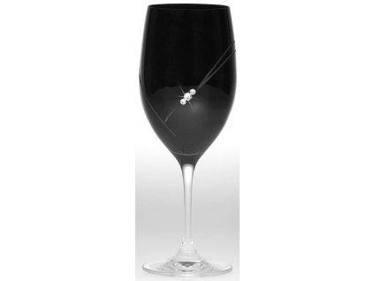 Černé sklenice na víno - 2ks / Swarowski Elements