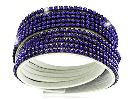 Náramek Double Mesh small, bílý  - Swarowski Elements, tanzanite