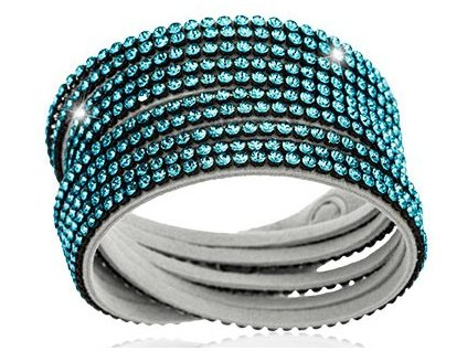 Náramek Double Mesh small, bílý - Swarowski Elements, aquamarine