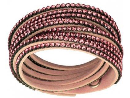 Náramek Double Mesh small, růžový - Swarowski Elements, light rose