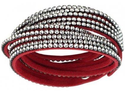 Náramek Double Mesh small, červený - Swarowski Elements, crystal