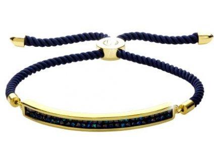 Stahovací náramek šňůrka, tmavě modrá - Swarowski Elements, bermuda blue
