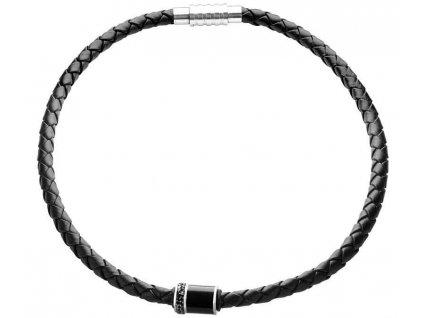 Pánský kožený náhrdelník 45cm se Swarowski Elements