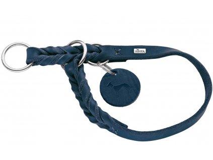 Polostahovací obojek pro psa Hunter Solid Education - tmavě modrý, kůže