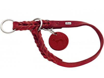 Polostahovací obojek pro psa Hunter Solid Education -červený, kůže