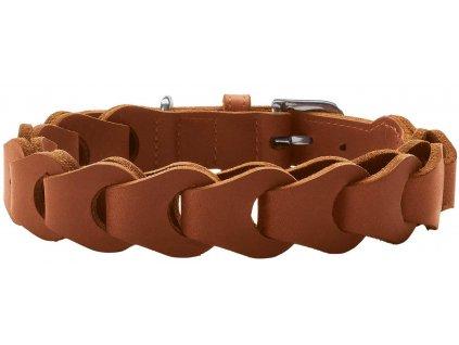 Kožený obojek pro psa Hunter Solid Education Chain - cognac