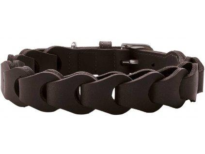 Kožený obojek pro psa Hunter Solid Education Chain - tmavě hnědý