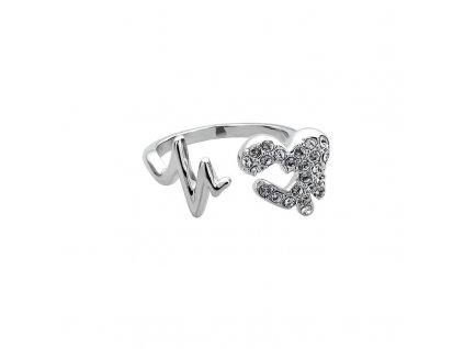 Prsten Heartbeat - crystal, bižuterie se Swarovski Elements