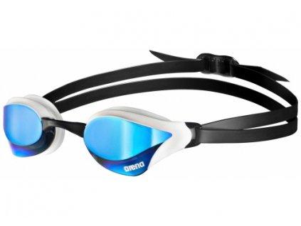 l arena cobra core mirror goggles blue white