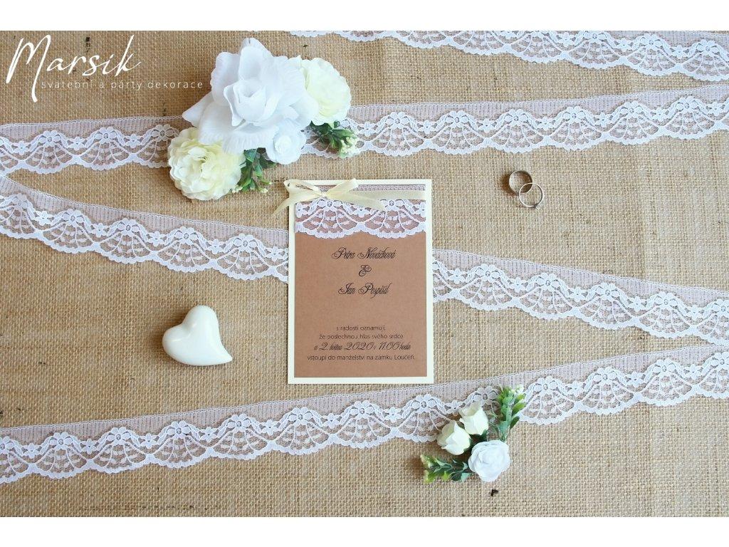 Svatební oznámení creamy rustic