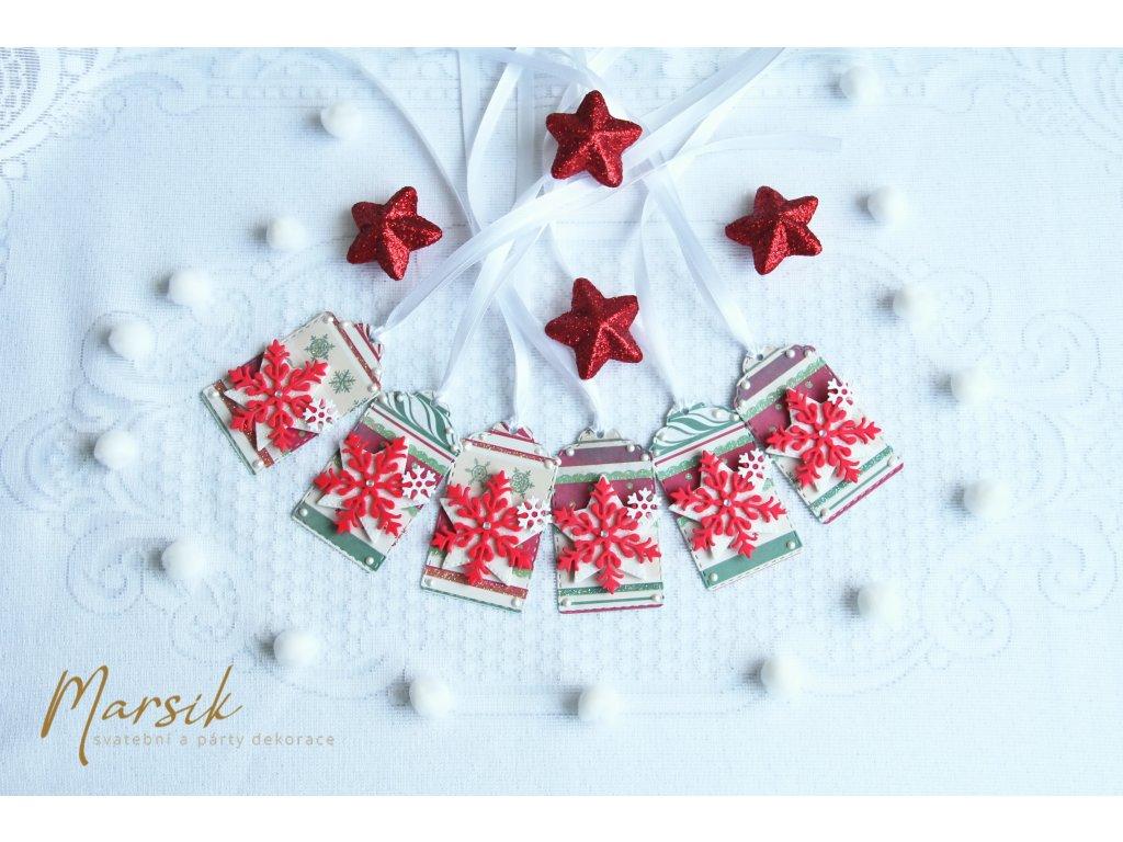 Vánoční visačky červené vločky