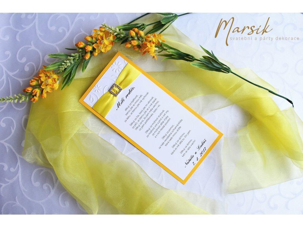 Poděkování rodičům luxury yellow