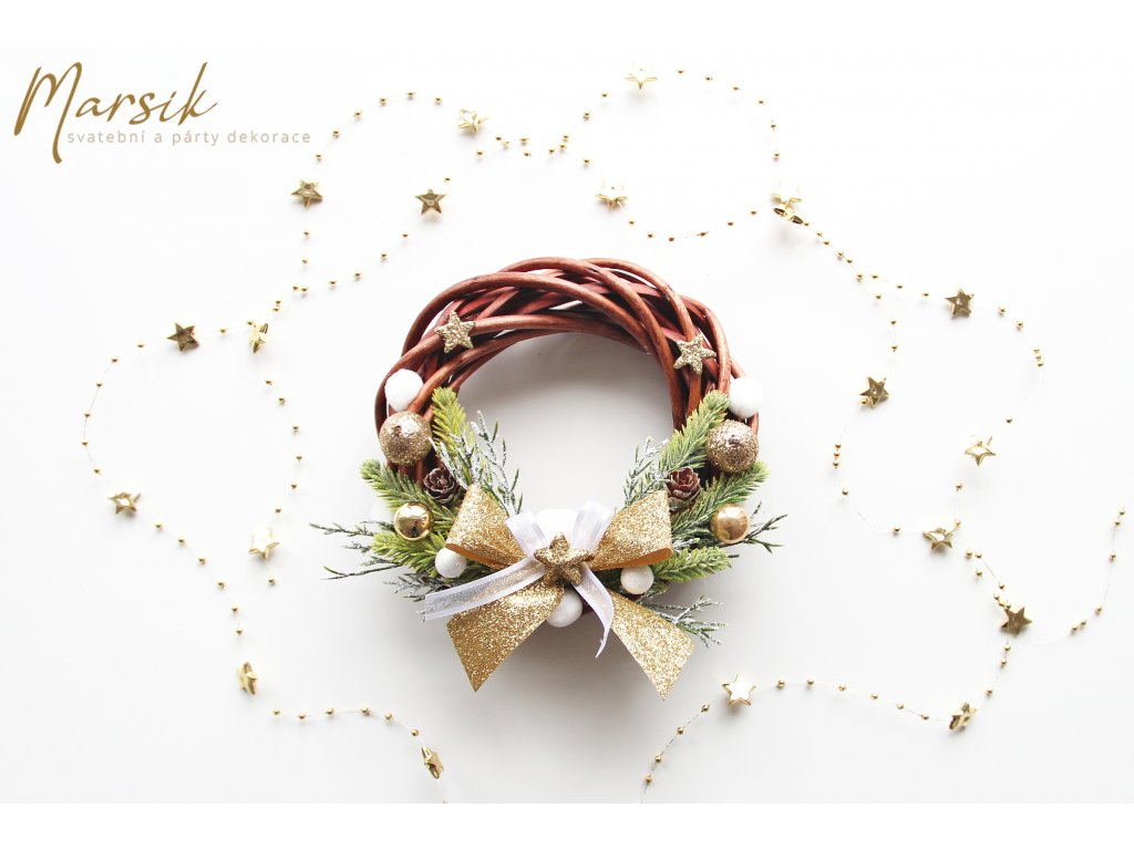 Vánoční věneček zlatý