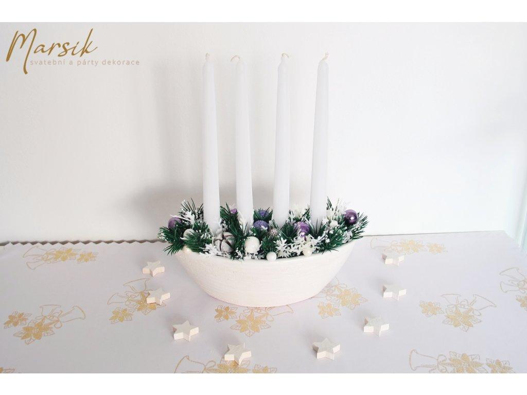 Adventní svícen bílá gondola