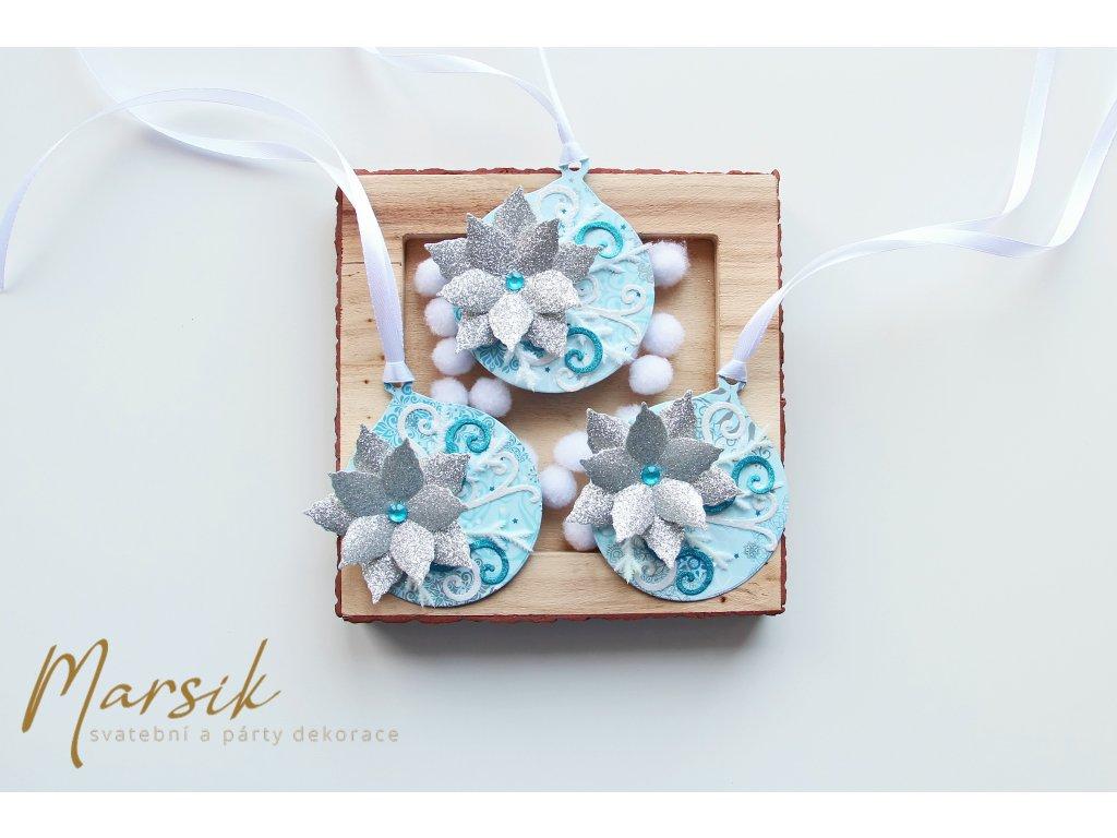 Vánoční visačky stříbrný květ