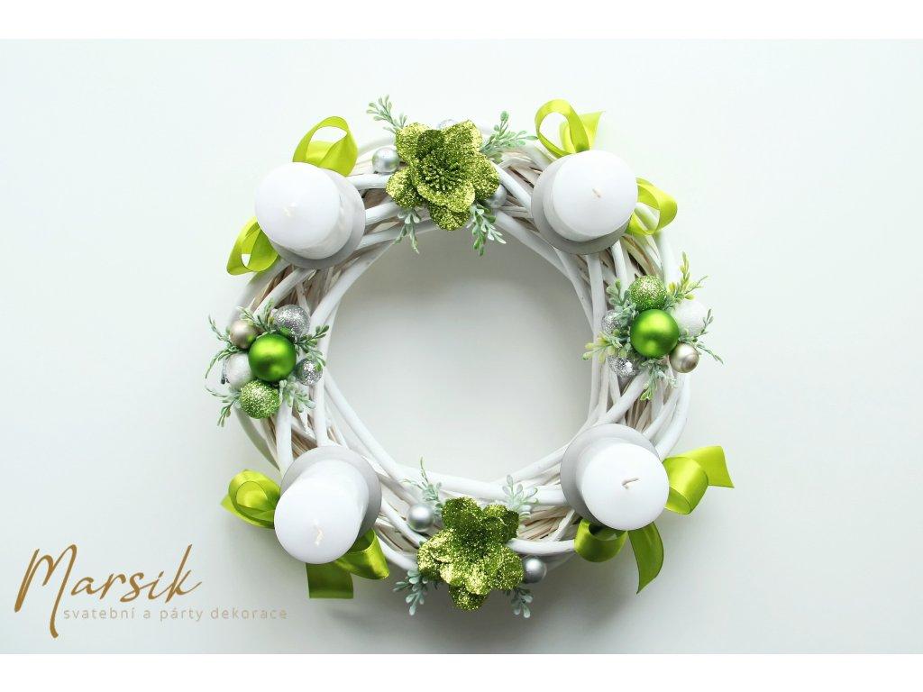 Adventní svícen zelená květinka