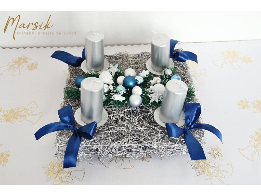 Adventní svícen modro stříbrný