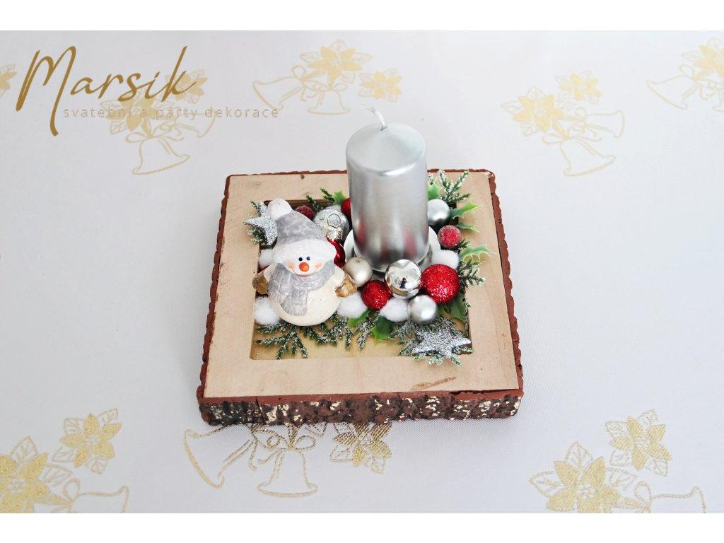 Vánoční svícen sněhulák