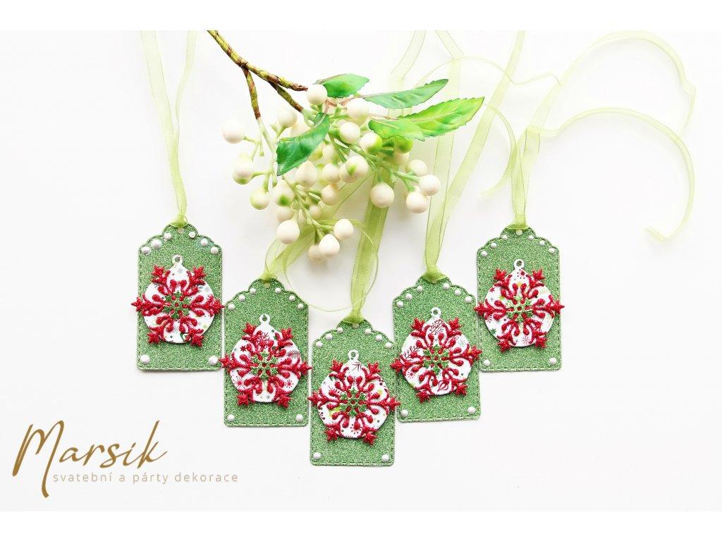 Vánoční visačky zelený třpyt