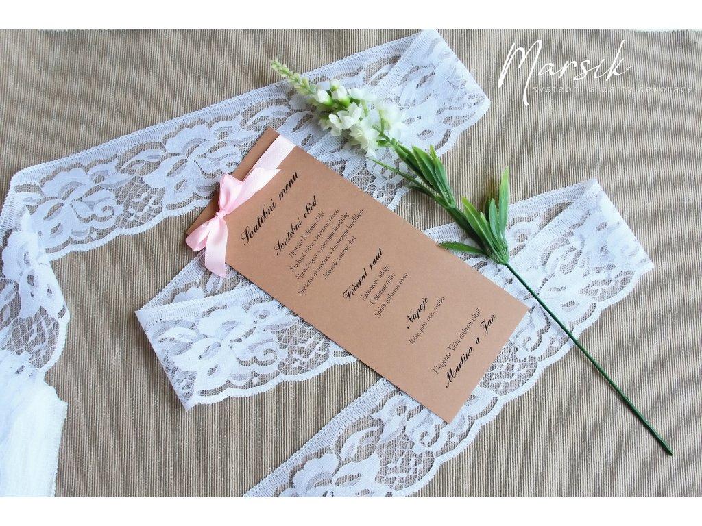 Svatební menu heart lace