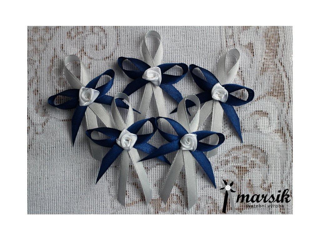 Vývazek silver dark blue Rose